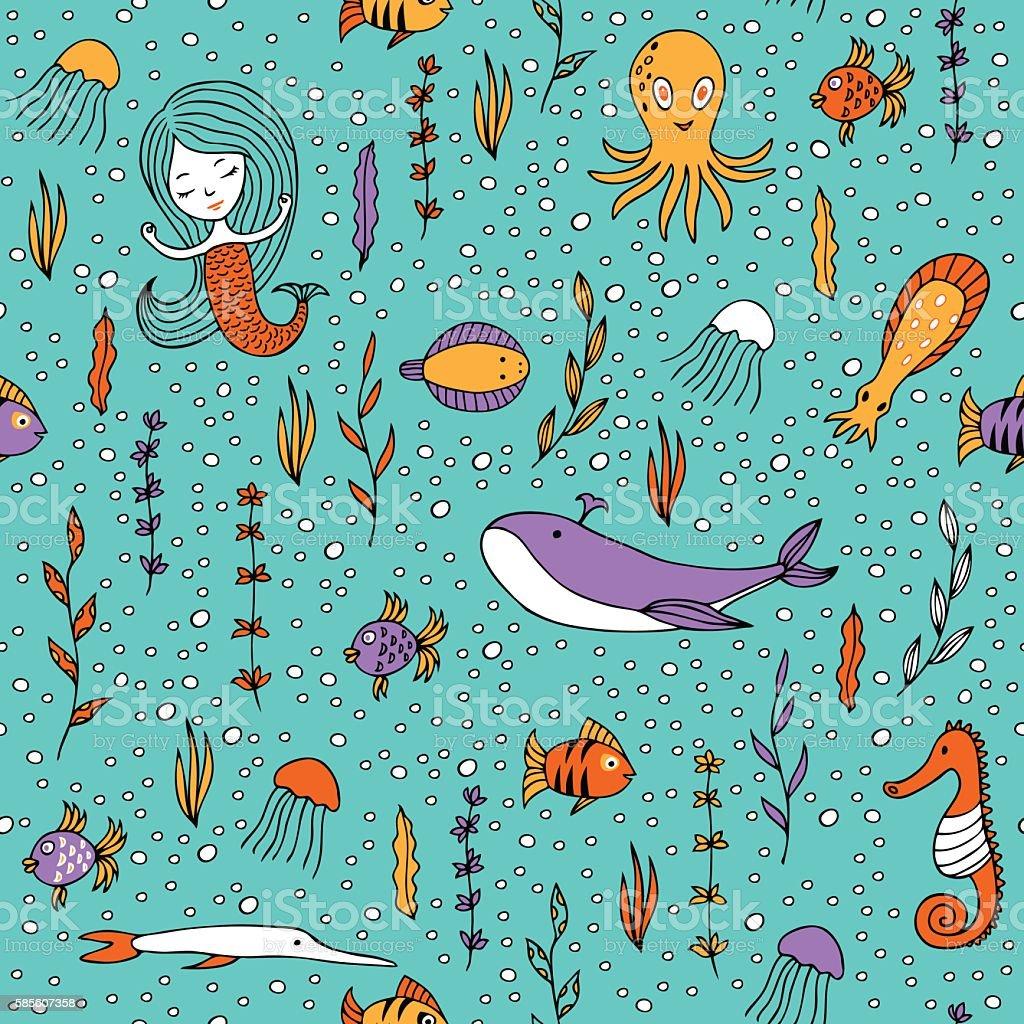 Seamless pattern marine life. vector art illustration