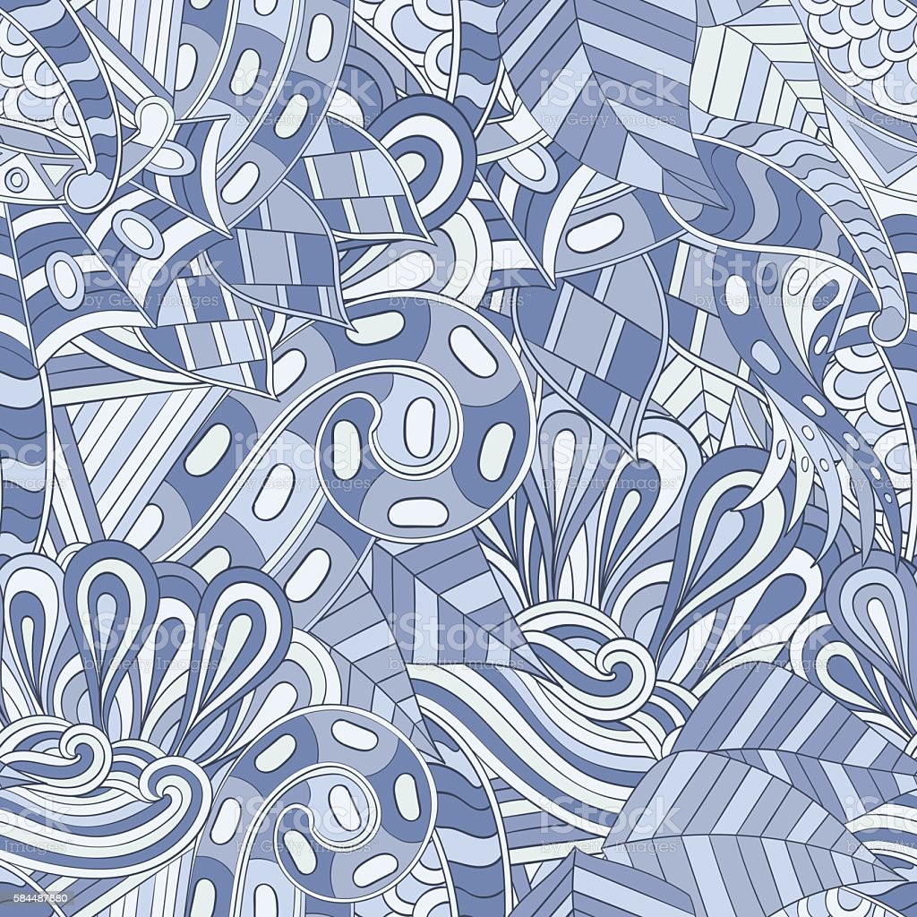 Seamless pattern. Mehendi design. Colorful doodle texture. Curved doodling. Vector. vector art illustration