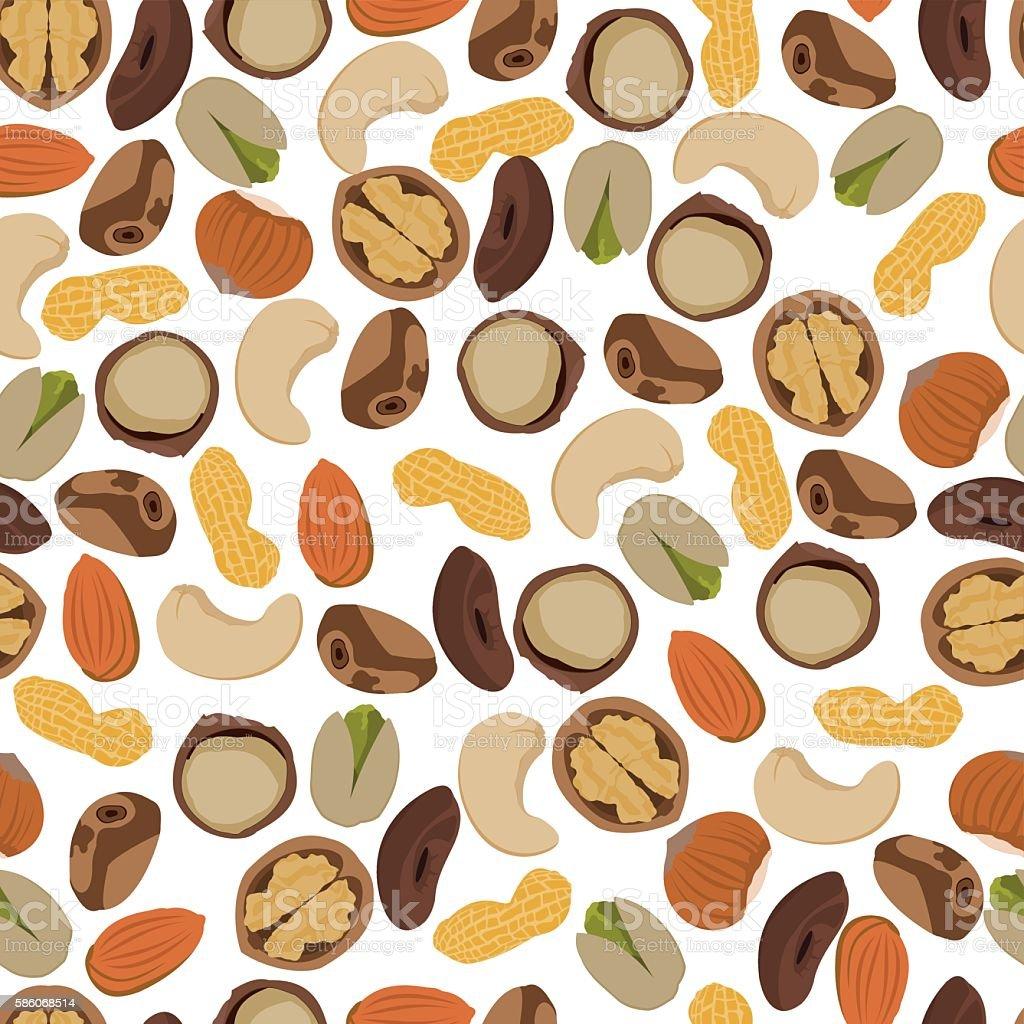 seamless pattern nuts vector art illustration