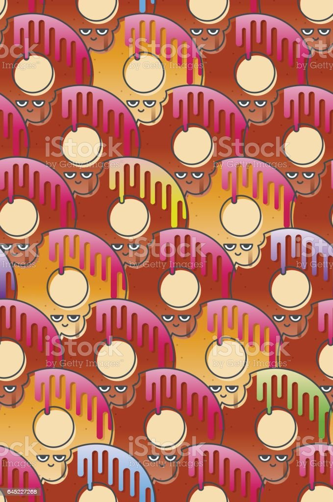 Seamless pattern of a bitten donut with colored icing vector art illustration