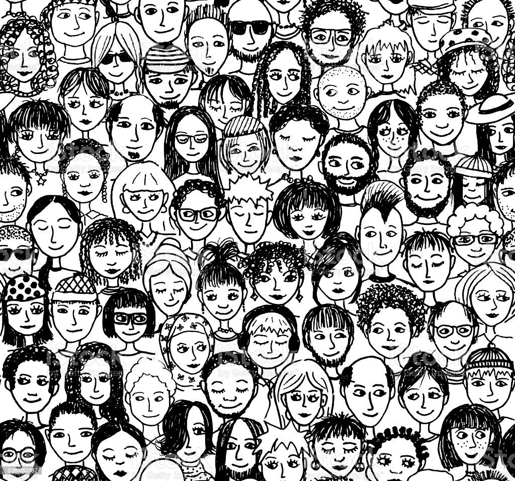 Seamless pattern of a crowd of people, hand drawn vector art illustration