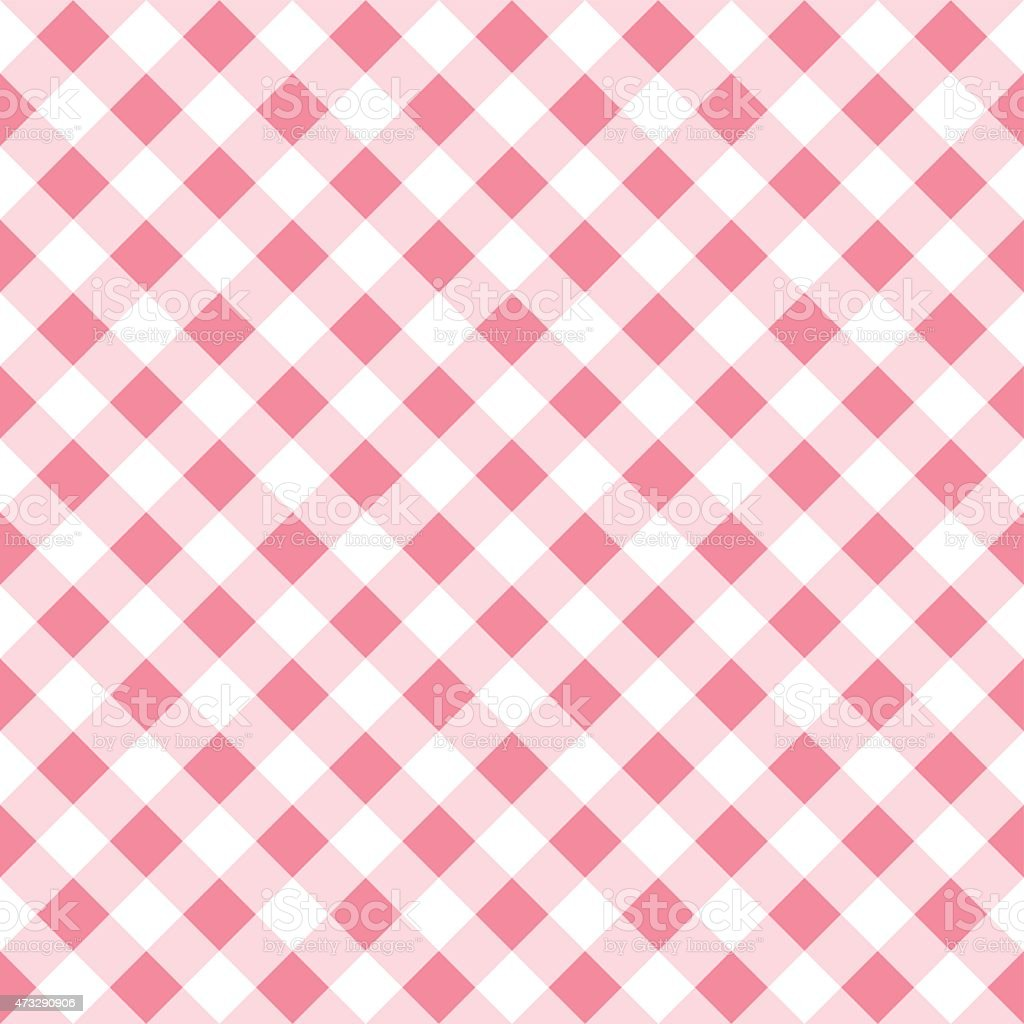 seamless pattern of a pink white plaid tablecloth vector art illustration