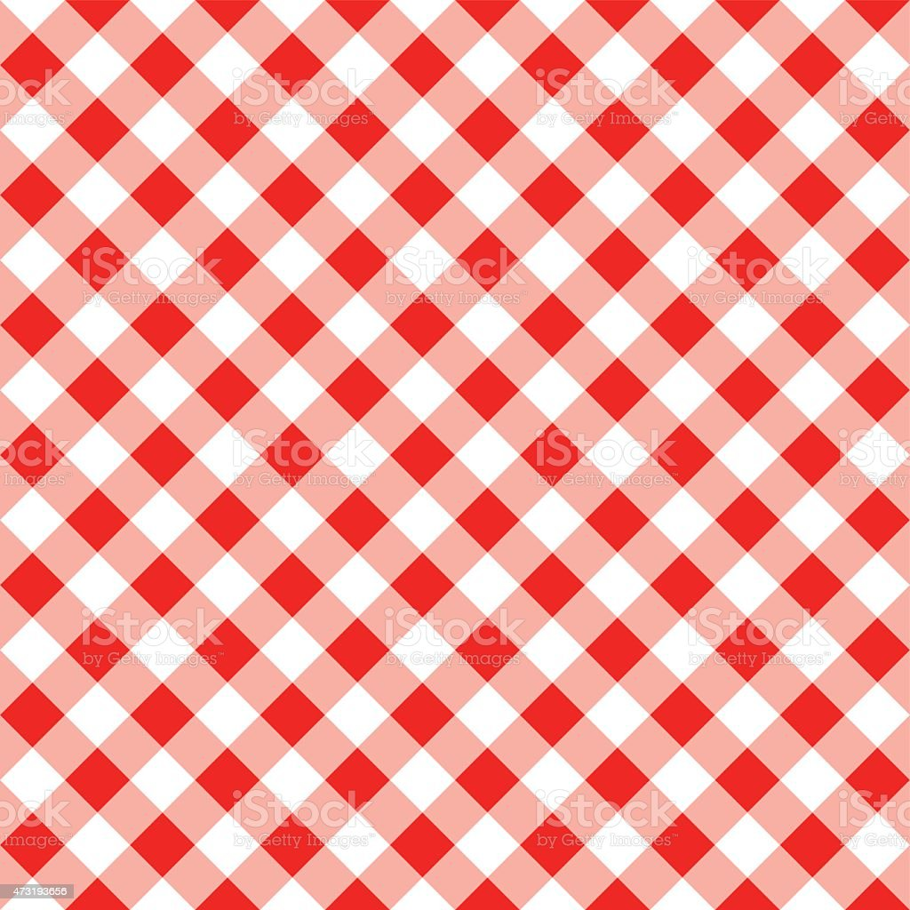 seamless pattern of a red white plaid tablecloth vector art illustration
