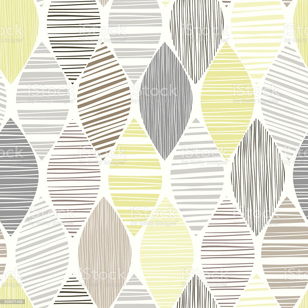 Seamless pattern of abstract striped leaves on a white background. vector art illustration