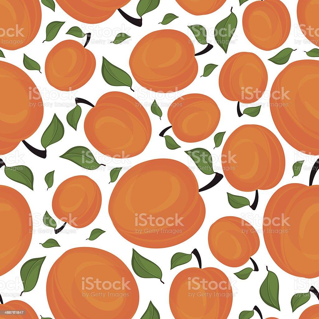 Seamless pattern of apricots, vector illustration. vector art illustration