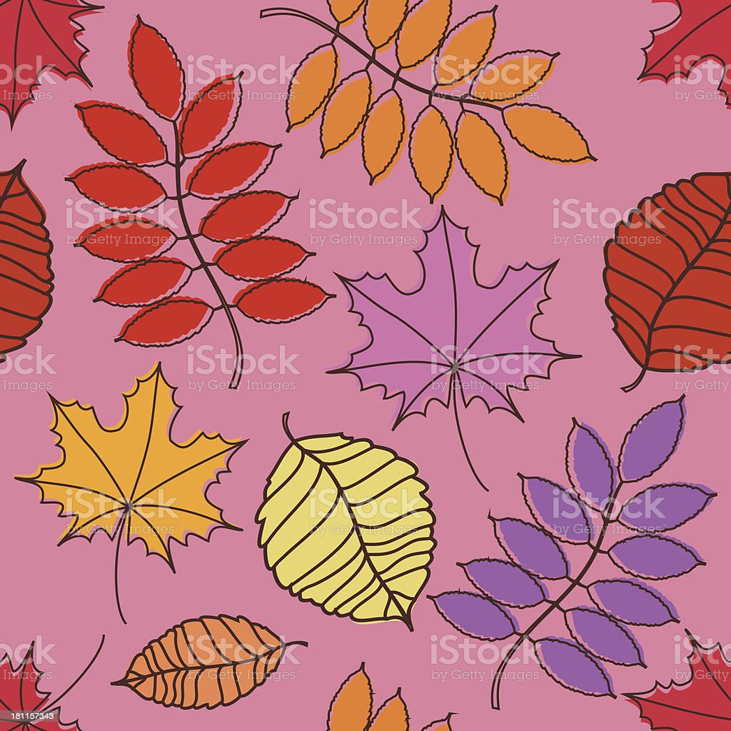 Seamless pattern of autumn leaves royalty-free stock vector art