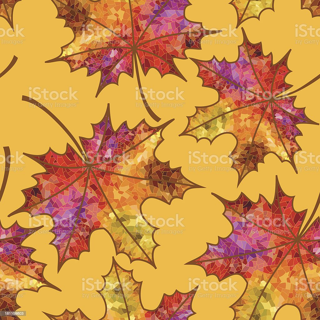 Seamless pattern of autumn maple leaves royalty-free stock vector art