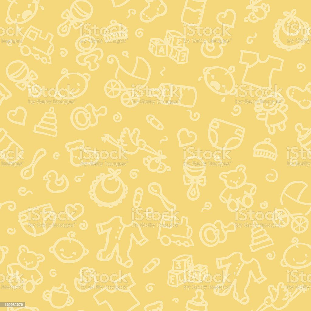 Seamless pattern of baby supplies vector art illustration