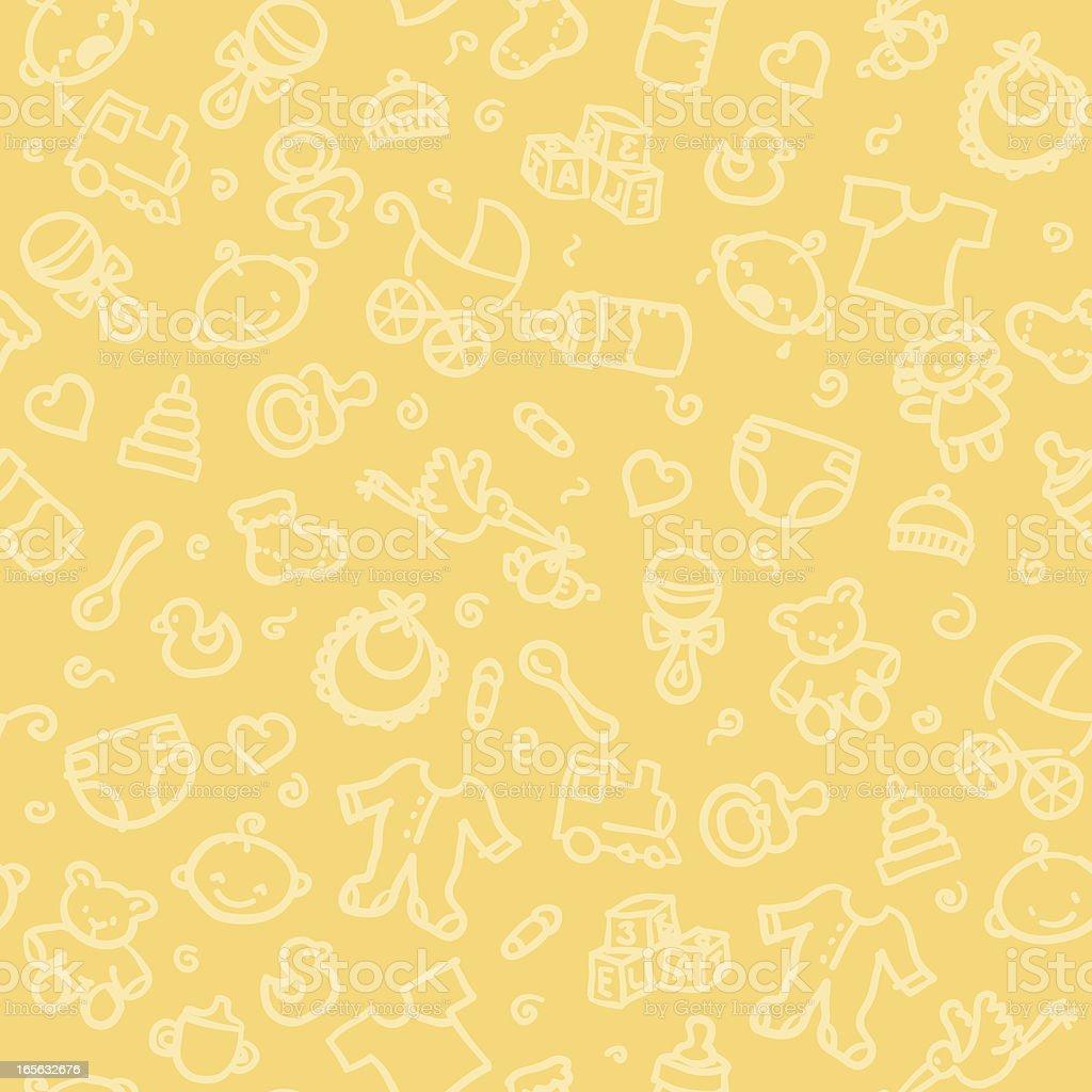 Seamless pattern of baby supplies vector art illustration
