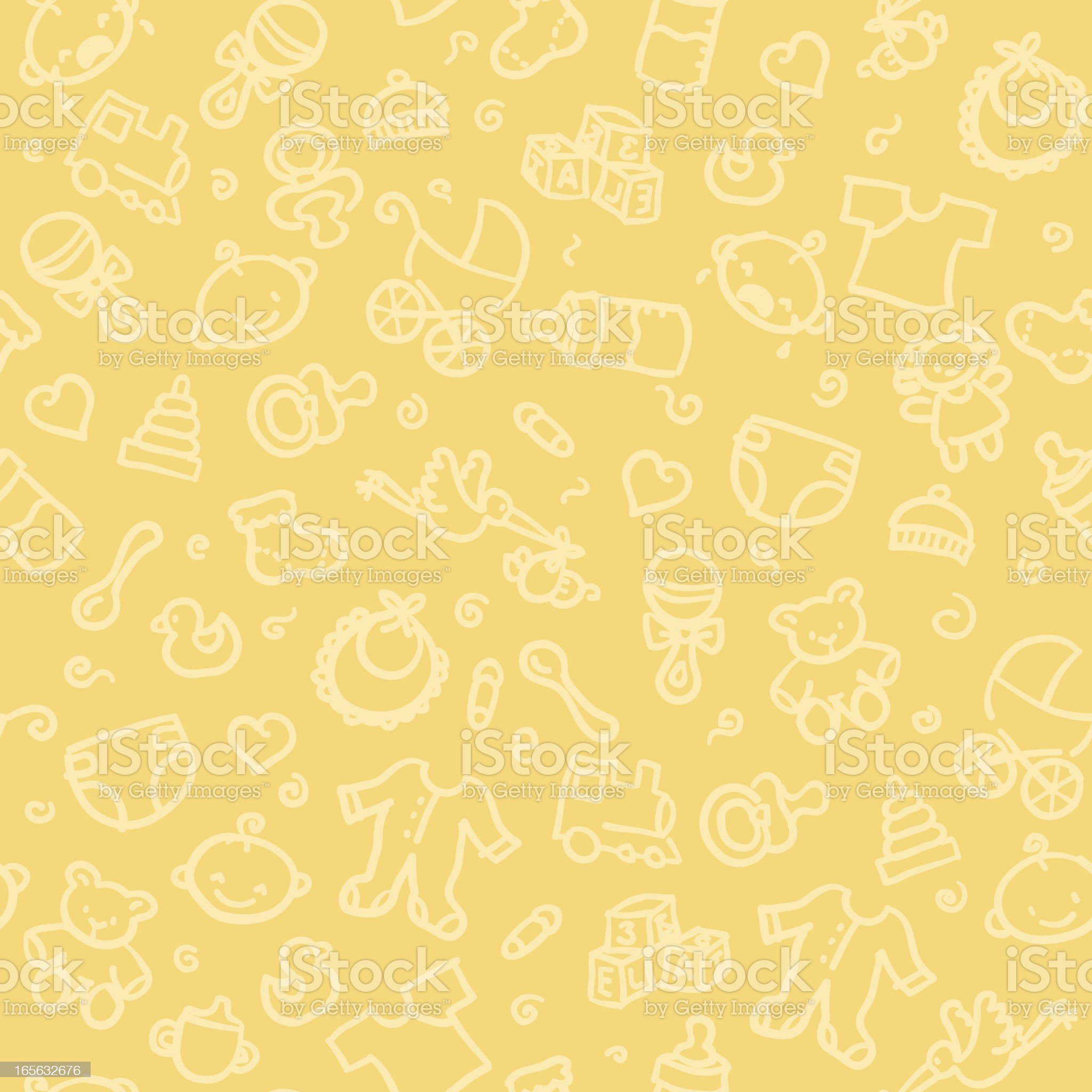 Seamless pattern of baby supplies royalty-free stock vector art