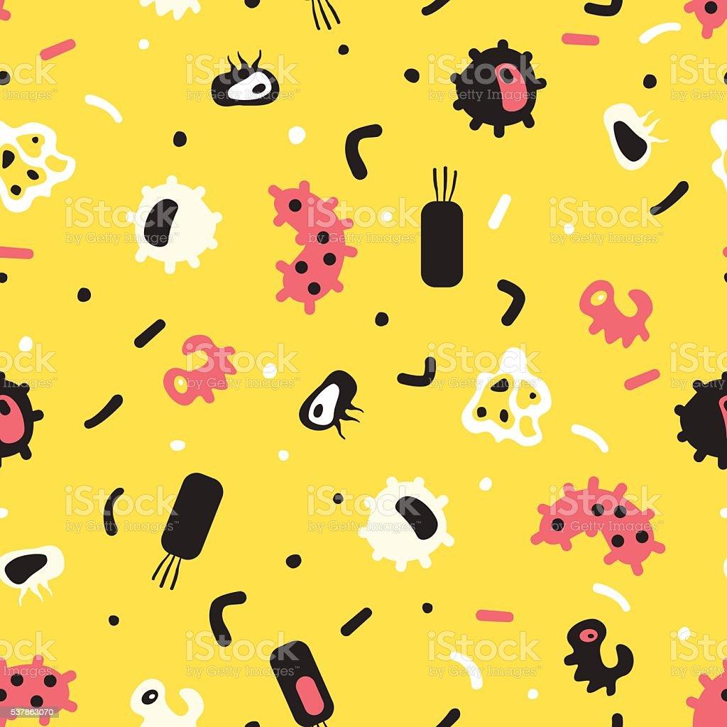 Seamless pattern of bacteria, virus, cells, germs, epidemic bacillus vector art illustration