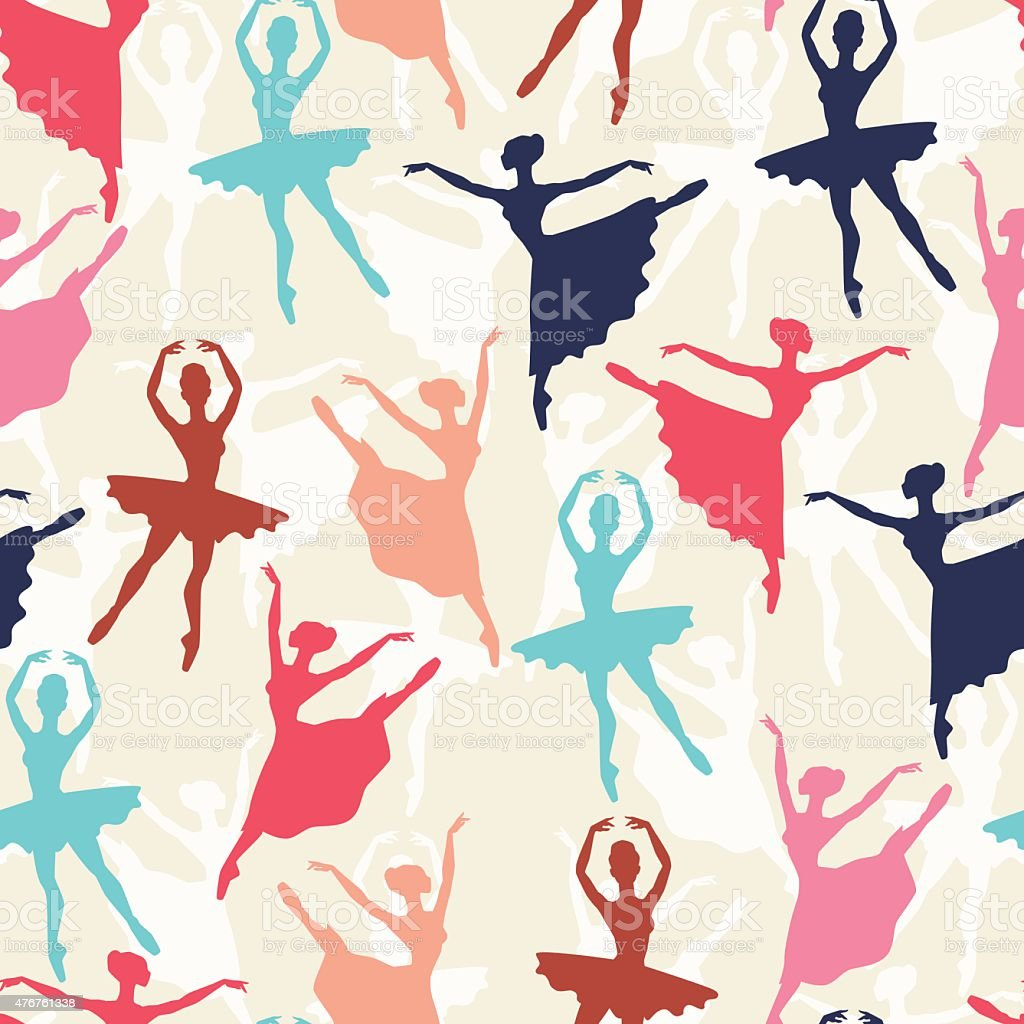 Seamless pattern of ballerinas silhouettes in dance poses vector art illustration