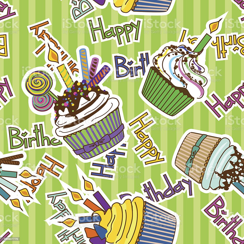 Seamless pattern of birthdays cupcakes royalty-free stock vector art