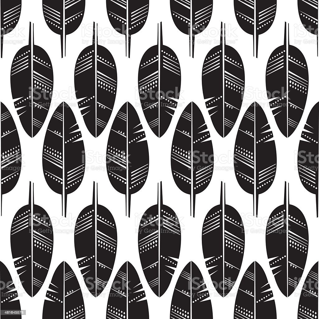 Seamless Pattern of black Feathers on white background. vector art illustration