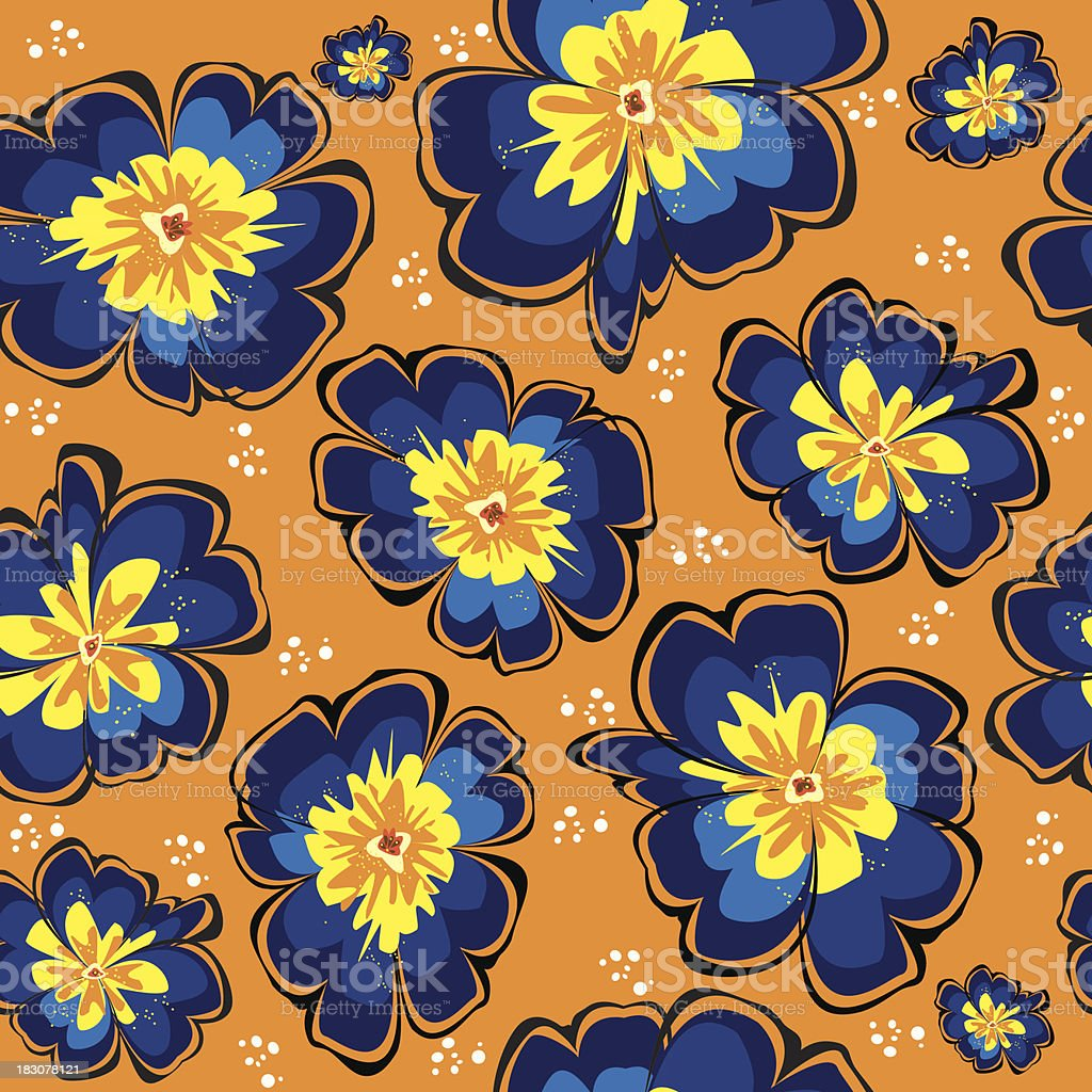 seamless pattern of blue vector primrose on orange background vector art illustration