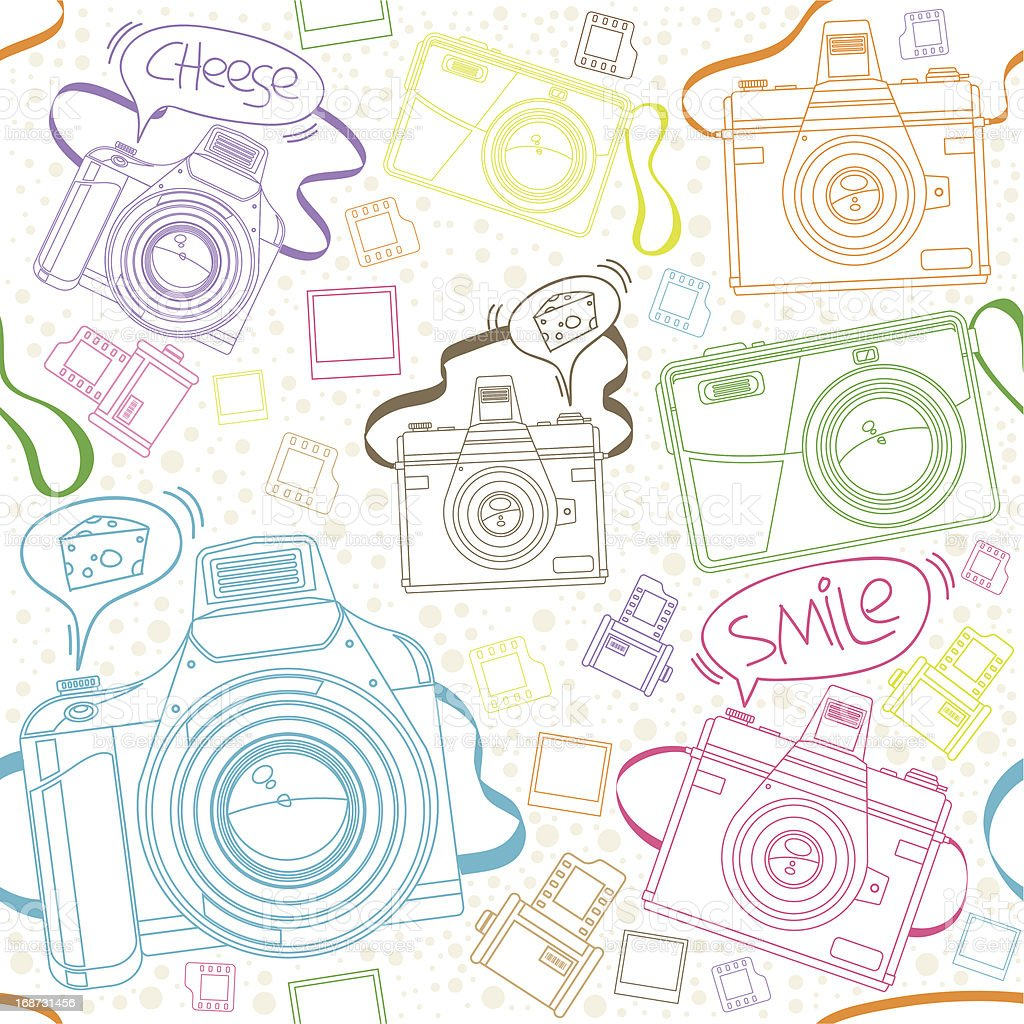 Seamless Pattern of Cameras with speech bubble royalty-free stock vector art