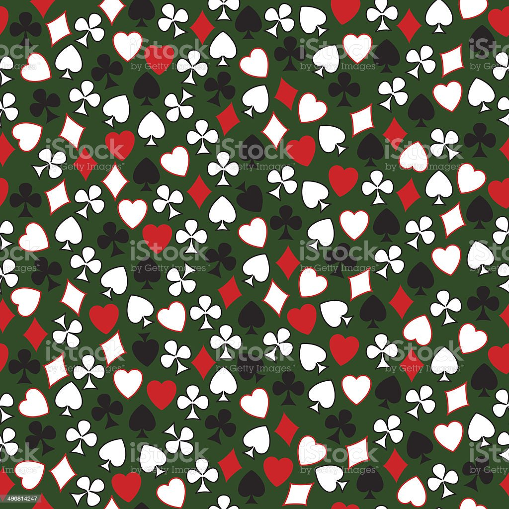Seamless pattern of card symbols arranged randomly on the green. vector art illustration
