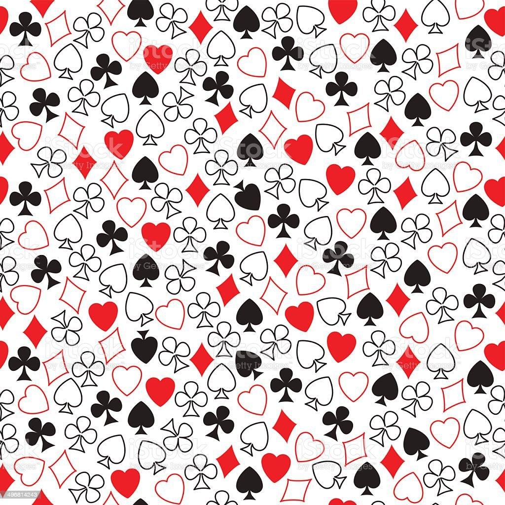 Seamless pattern of card symbols arranged randomly on white. vector art illustration
