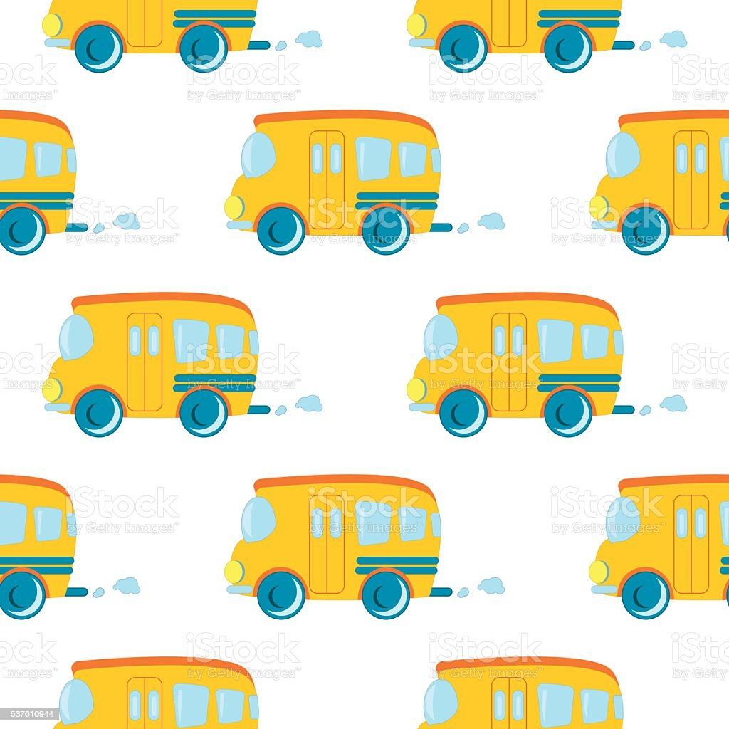 Seamless pattern of cartoon cars vector. vector art illustration