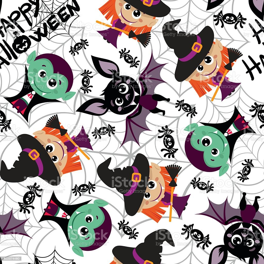 Seamless pattern of characters for Halloween in cartoon style. vector art illustration