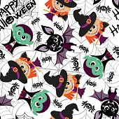 Seamless pattern of characters for Halloween in cartoon style.
