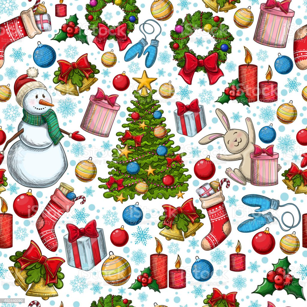 Seamless pattern of Christmas icons vector art illustration