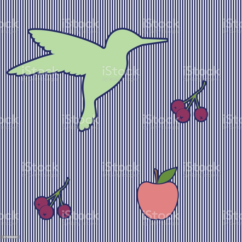 Seamless pattern of colibri, berries and apple. Silhouettes. Striped background. vector art illustration