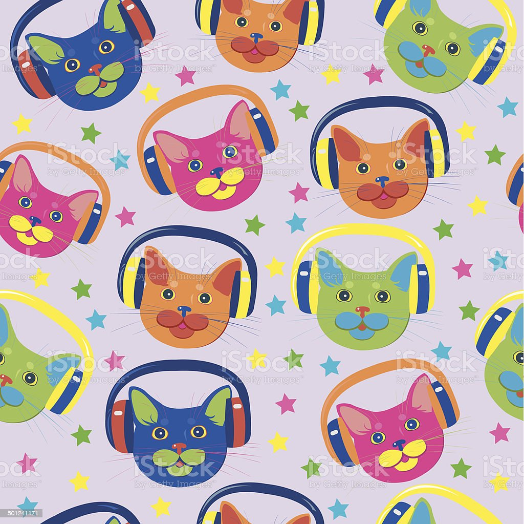 seamless pattern of colored cats royalty-free stock vector art