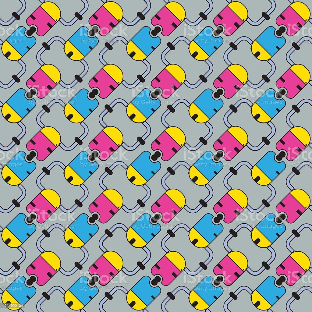 seamless pattern of colored vector art illustration