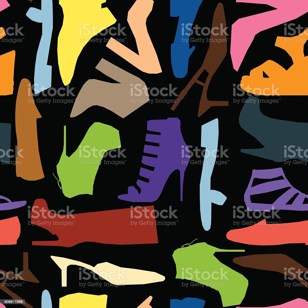 Seamless pattern of colored women shoes vector art illustration