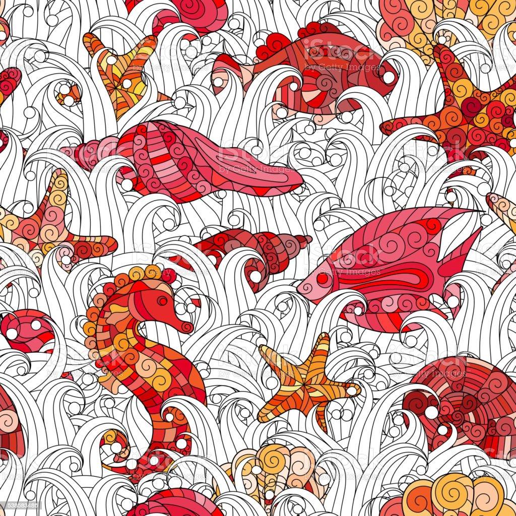 Seamless pattern of colorful hand drawn seashells, starfish and seahorse vector art illustration