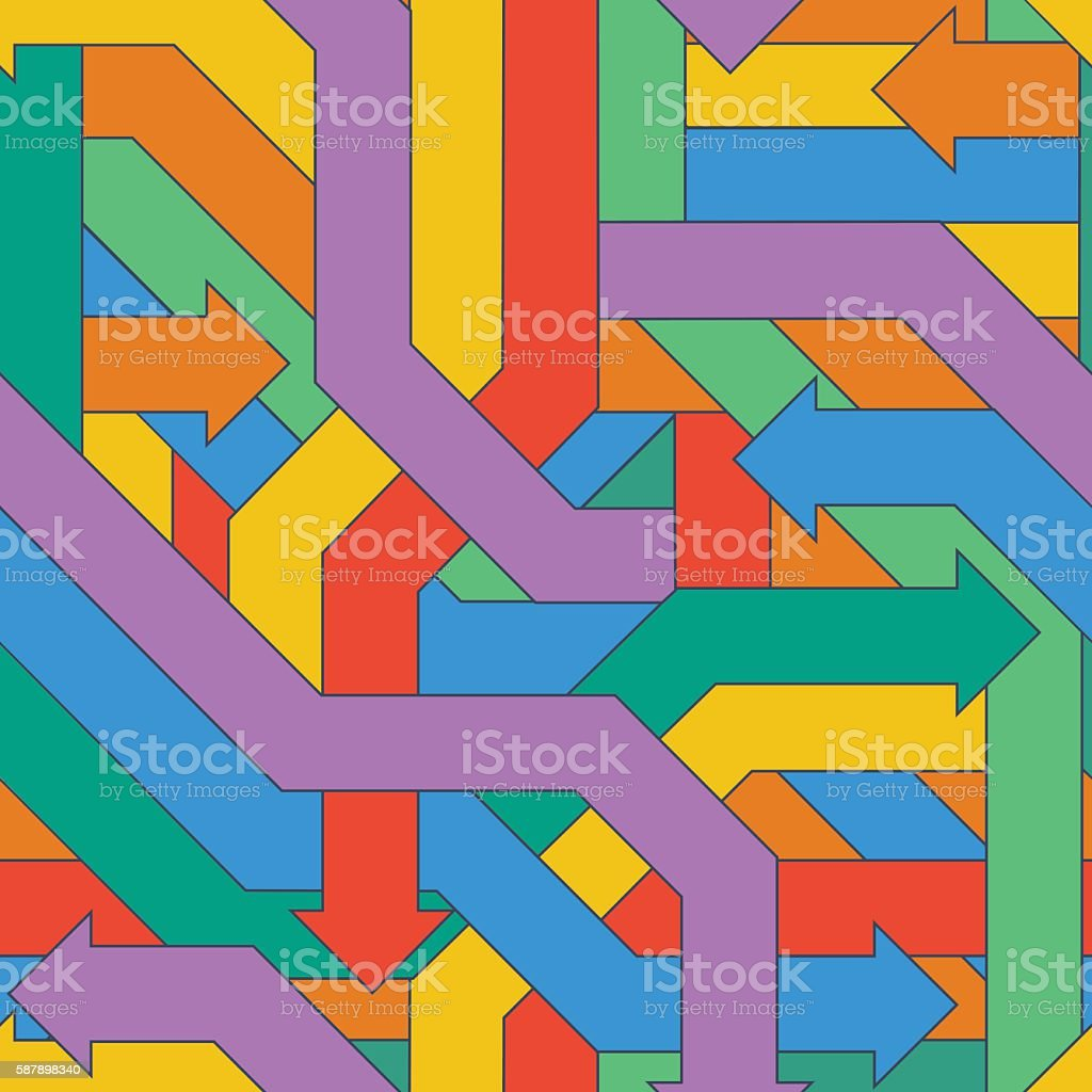 Seamless pattern of colorful intertwined arrows. vector art illustration