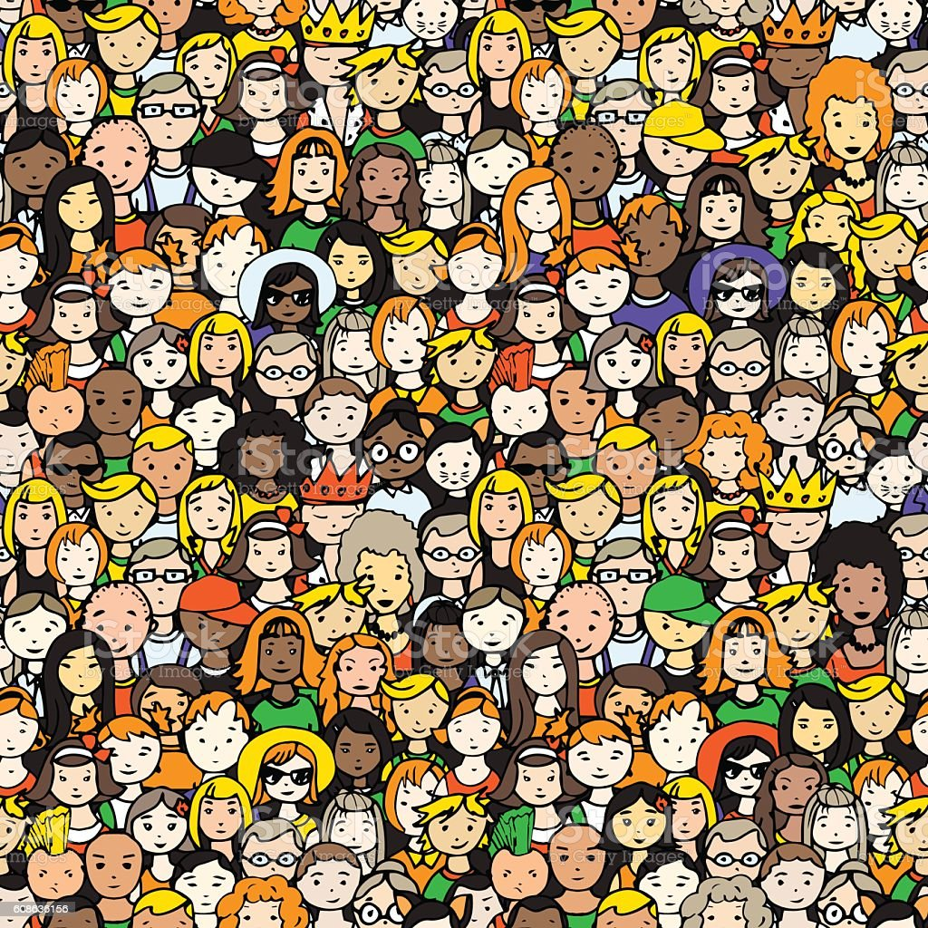seamless pattern of crowd of people. vector illustration vector art illustration