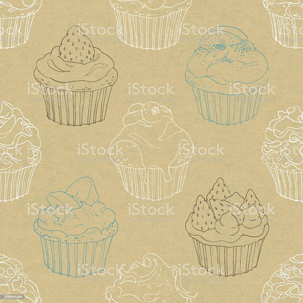 seamless pattern of cupcakes vector art illustration