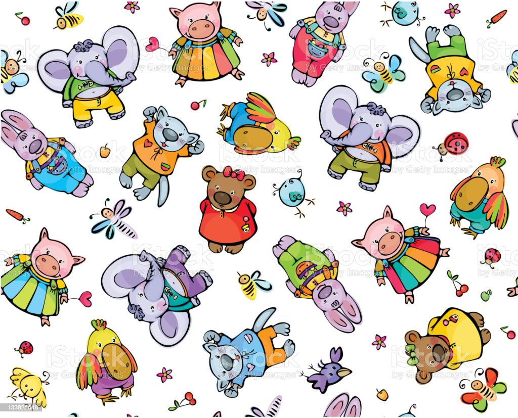 Seamless pattern of cute baby animals royalty-free stock vector art