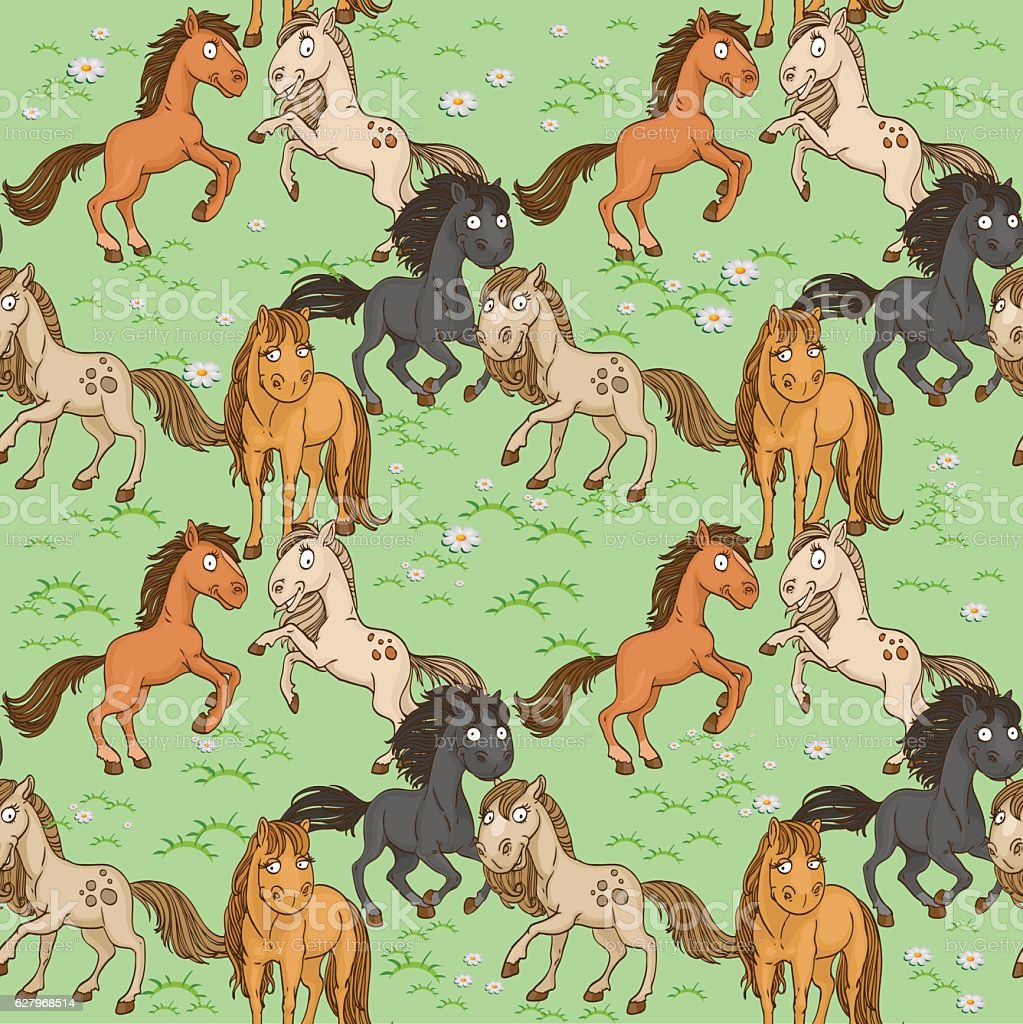 Seamless pattern of cute horse vector art illustration