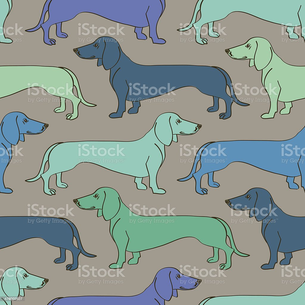 Seamless pattern of Dachshund dogs vector art illustration