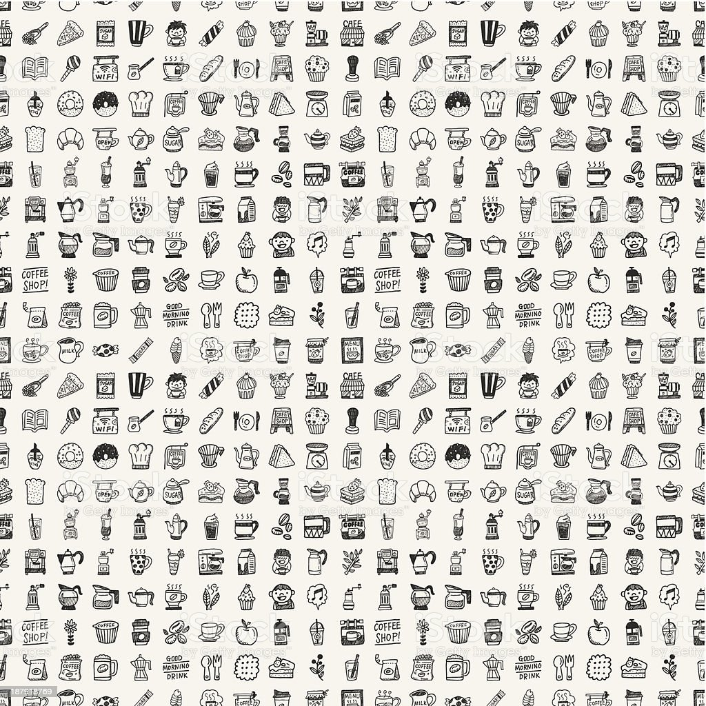 Seamless pattern of different coffee themed doodles in black royalty-free stock vector art