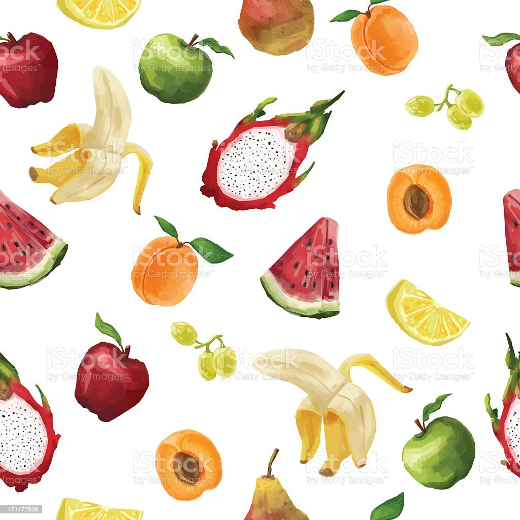 Seamless pattern of different fruits in a watercolor style vector art illustration