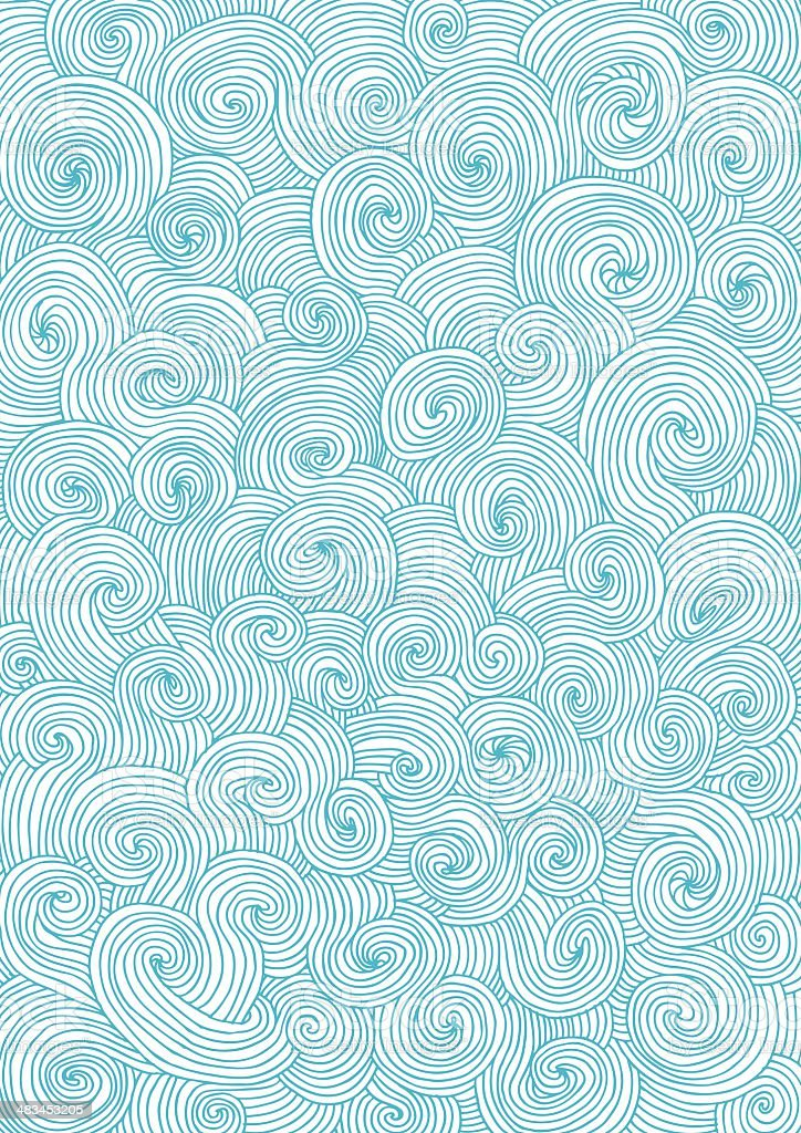 Seamless pattern of doodle swirls and curls vector art illustration