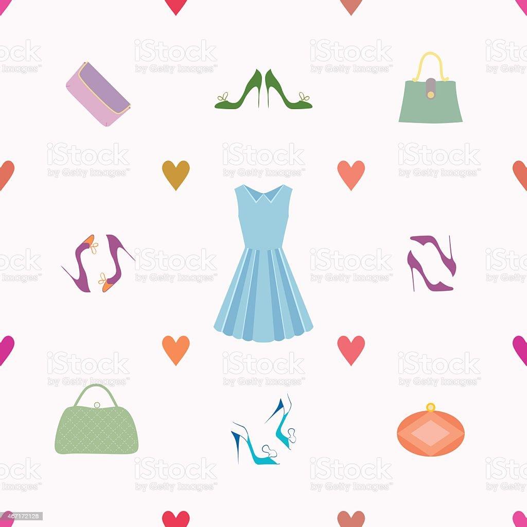 Seamless pattern of dress, shoes, handbags, hearts vector art illustration