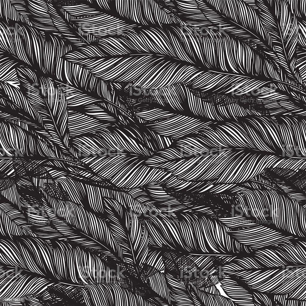 seamless pattern of feathers bird vector art illustration