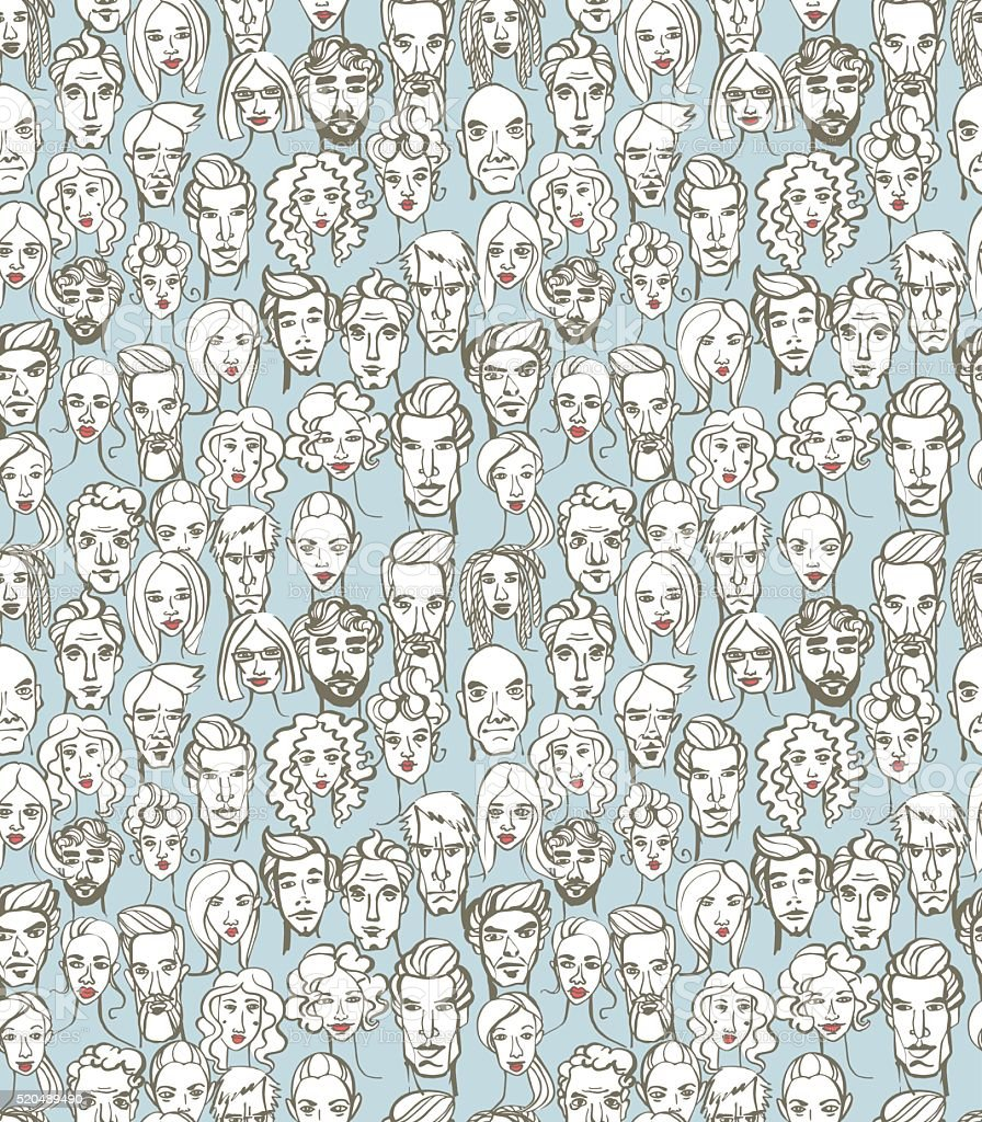 Seamless pattern of female and male doodle hand drawn portraits. vector art illustration
