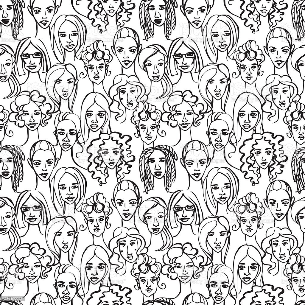 Seamless pattern of female doodle hand drawn portraits. vector art illustration