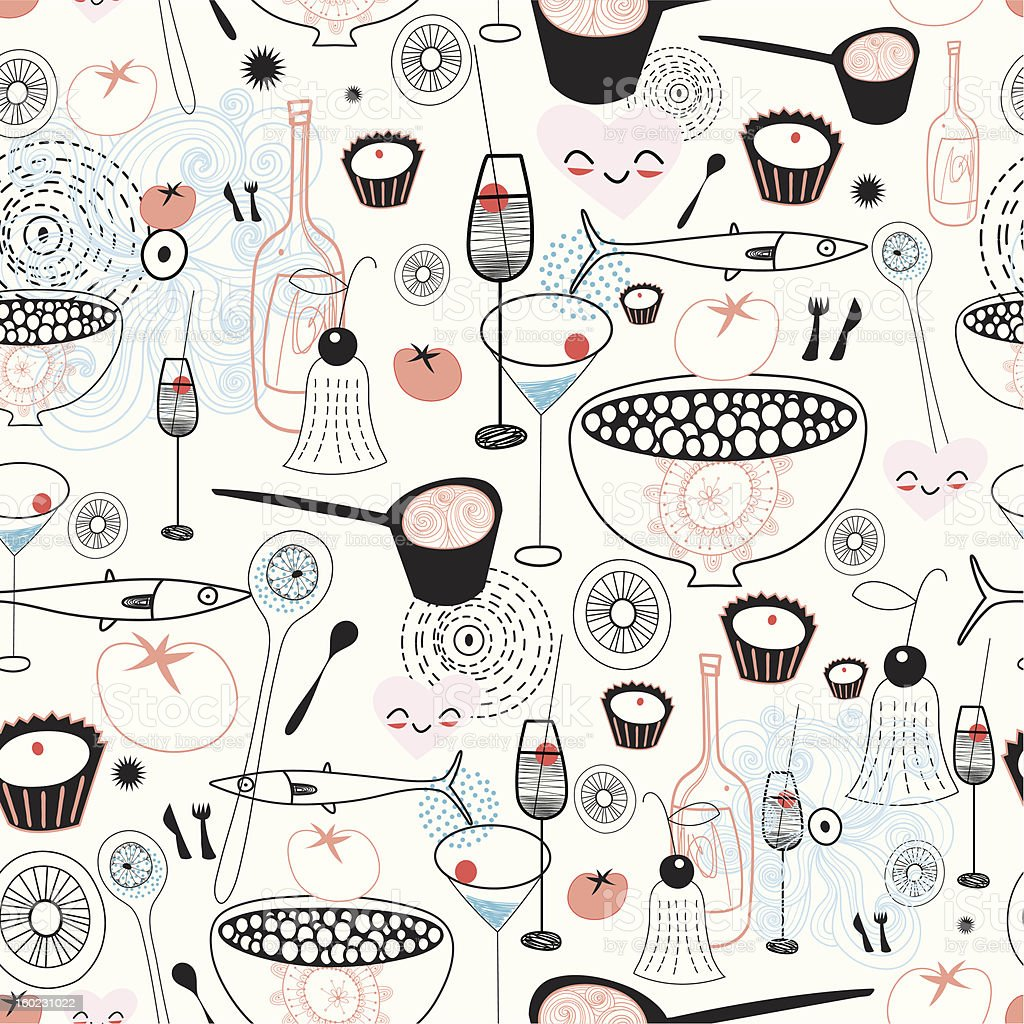 Seamless pattern of fine food and drinks royalty-free stock vector art