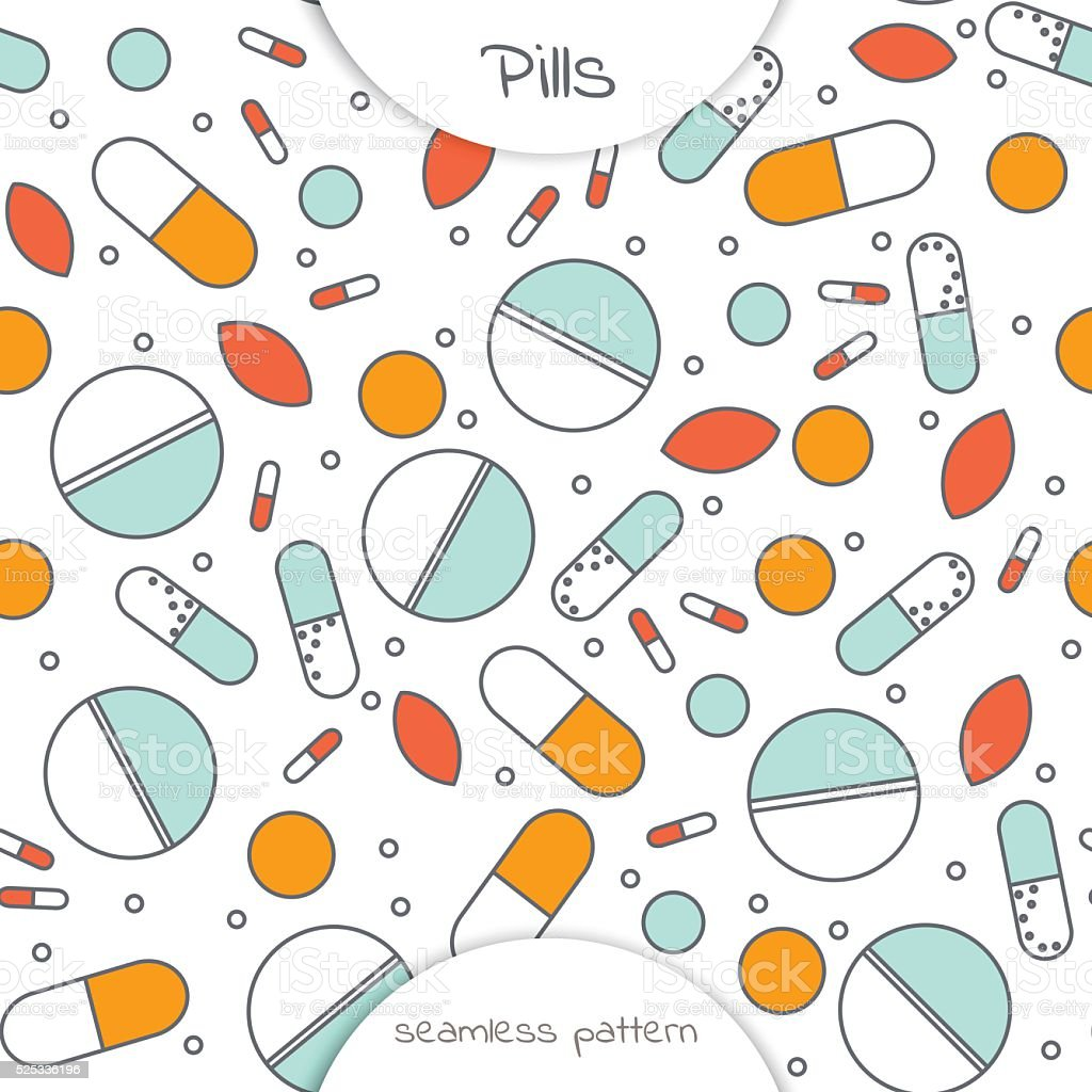 seamless pattern of flat line icon of different pills vector art illustration