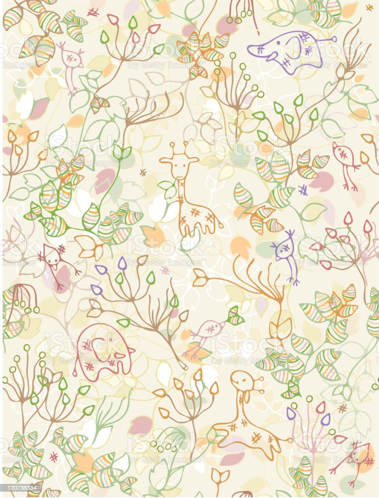 Seamless  pattern of flora and cute animals. royalty-free stock vector art
