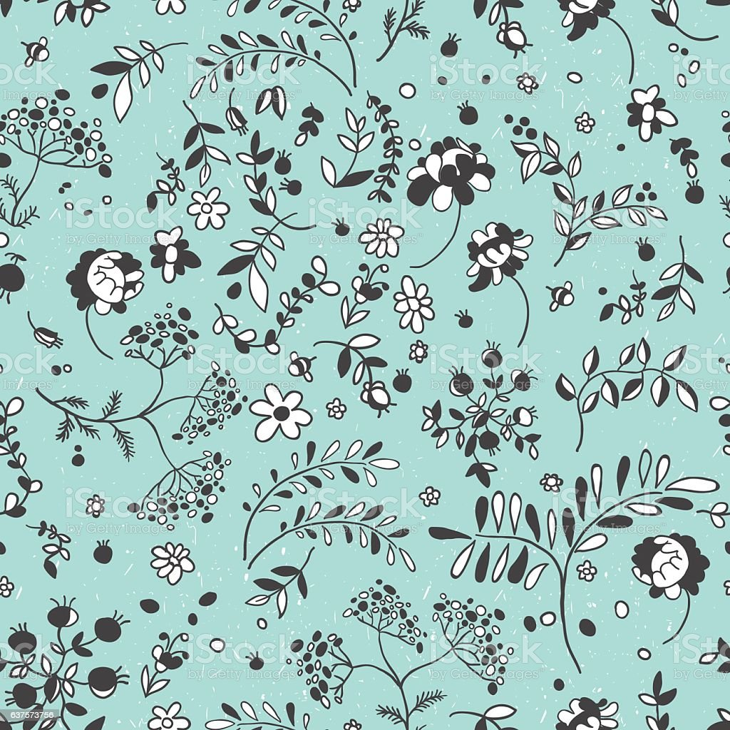 Seamless pattern of flowers, leaves, twigs. Floral Fabric. Patch vector art illustration