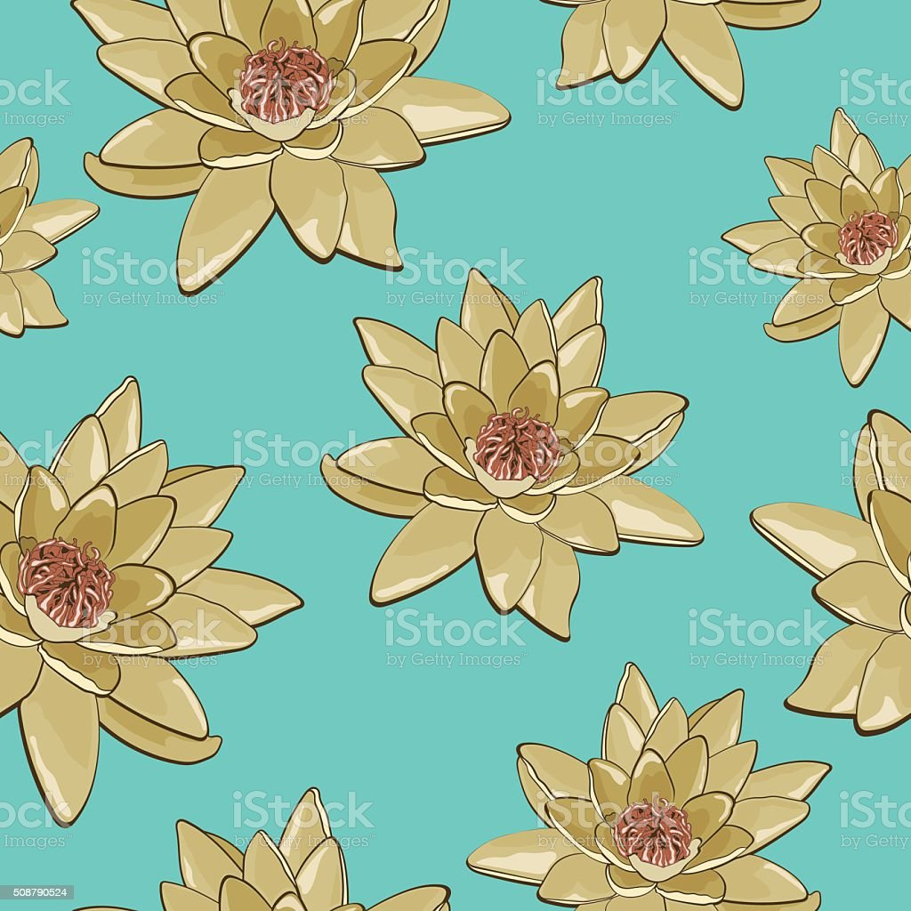 Seamless pattern of flowers of water lilies on a blue background royalty-free stock vector art
