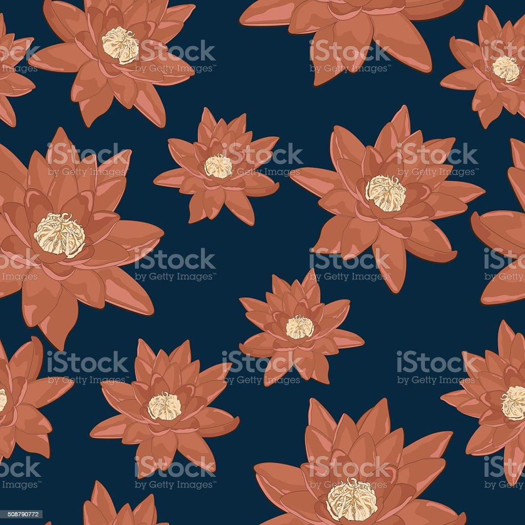 Seamless pattern of flowers of water lilies royalty-free stock vector art